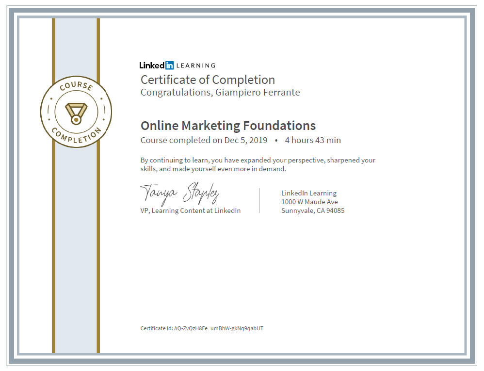Linkedin Certificate Online Marketing Foundation